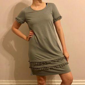 Dresses & Skirts - Gray Cotton Dress w/ Fringe
